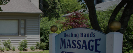 Exterior sign for Healing Hands Massage in Berwyn, PA