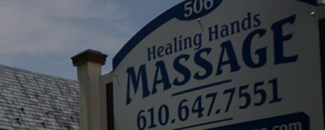 exterior sign for healing hands massage location in Downingtown, PA