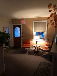 Reception and waiting area at Healing Hands Massage in West Chester, PA